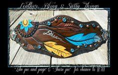Find me on facebook for hand painted leather,  bronc nosebands, hats, headbands, etc......