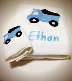 Applique Embroidery - Dumptruck towel and facewasher set.