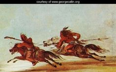 War-on-the-plains. Comanche-(right)-trying-to-lance-Osage-warrior by George Caitlin