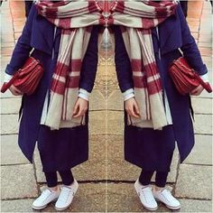 Red and bkue hijab style