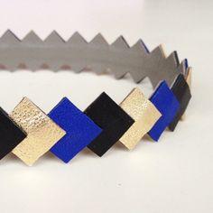 """Head-band en cuir """"graphique""""  coloris Or-Noir-bleu cobalt monté sur élastique accessoire cheveux pour femme"""