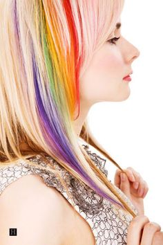 This is pretty much my favourite thing ever. Rainbow peekaboo hair awesomeness.