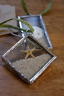 Christmas Crafts - Real starfish and sand dollars are encased with Cape Cod sand into glass and soldered to make these one of a kind beach ornaments Mosaic Glass, Fused Glass, Glass Art, Sand Glass, Mosaic Mirrors, Leaded Glass, Mosaic Art, Resin Crafts, Jewelry Crafts