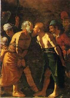 Farewell of Saints Peter and Paul, showing the Apostles giving each other the holy kiss before their martyrdom.