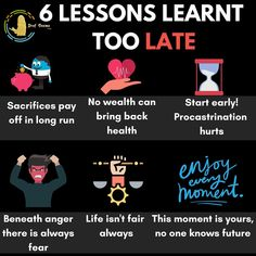 6 lessons that learned too late.😭 1. No wealth can bring back health😐 2. Life is not fair always. 3. Sacrifices pay off in long run. 4. The moment is yours, no one knows future👀 5. Start early!!! Procrastination HURTS. 6. Beneath the anger, there is always fear. Learn quickly before it's too late. And like comment and follow @profseemagupta for more updates. . . . #mindseteverything #mindsetpositivo #mindsetreset #mindsetofexcellence #mindsetiskey #motivation #motivationalquotes Bring Back, Bring It On, Life Isnt Fair, Make It Through, Lessons Learned, How To Run Longer, Motivationalquotes, You And I, Wealth