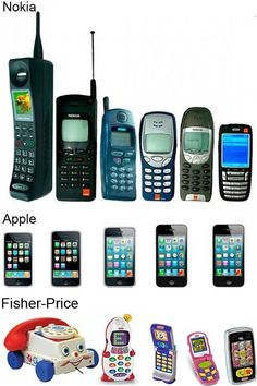 Evolution of the cell phone -including Fisher Price! I am most interested in the evolution of the Fisher-Price phone. Alter Computer, Funny Memes, Hilarious, Funny Captions, Just For Laughs, Fisher Price, Laugh Out Loud, I Laughed, Funny Pictures