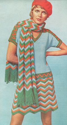 Chevron skirted two piece dress has top banded with Aztec motif. Ca. 1970