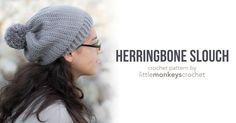 Herringbone Slouch Crochet Pattern     Free slouchy hat crochet pattern by Little Monkeys Crochet