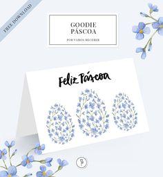 Cartão de Feliz Páscoa para baixar em nosso site, com desenho de ovos de Páscoa e flores azuis!