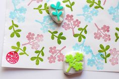 petit flower rubber stamps. hand carved stamp. by talktothesun