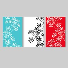 Modern Decor Botanical Trio - Set of Three Coordinating Floral Prints - Choose Your Colors - Shown in Black, White, Red, Turquoise Home And Deco, Black Decor, Botanical Art, Color Show, Modern Decor, Canvas Art, Painted Canvas, Floral Prints, Decoration