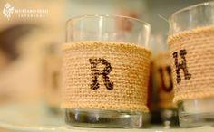 burlap stenciled sleeves for mason jar centerpieces!