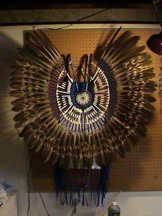 Native American Bustle Imitation Mature Golden Eagle Feathers Powwow Regalia