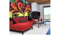 Graffiti Inspiration --> Living room graffiti mural. #SprayPaint #Art #Decor