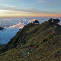 The basecamp on the ridge for the second night just before the final climb. Lombok, Mountain S, Volcano, Southeast Asia, Trekking, Climbing, My Photos, Two By Two, Hiking