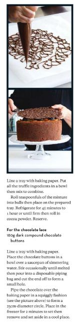 chocolate 'lace'. Good idea for small cakes too. (small white cakes for an interesting effect for a wedding?)
