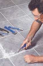 Removing and replacing old grout. To remove and replace the grout, here is what you will need: Bag or bucket of Grout Small mixing bucket A rubber grout float Eye protecting goggles Portable heavy duty vacuum A hammer A pair