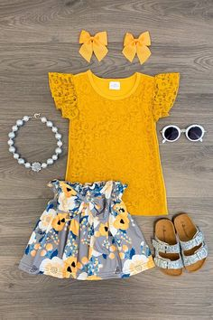 Layla Lace Floral Skirt Set Mustard Layla Lace Floral Skirt Set Mustard Sparkle In Pink The post Layla Lace Floral Skirt Set Mustard appeared first on Toddlers Ideas. Little Girl Outfits, Kids Outfits Girls, Toddler Girl Outfits, Little Girl Fashion, Baby Girl Dresses, Toddler Fashion, Baby Dress, Kids Fashion, Cute Outfits