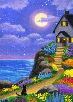 """Little Kitty's Seaside Cottage"" Easy Canvas Painting, Diy Canvas Art, Painting Art, Simple Canvas Paintings, Cottage Art, Naive Art, Whimsical Art, Cat Art, Landscape Paintings"
