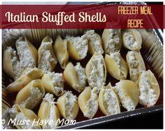 Italian Stuffed Shells Freezer Meal Recipe - Must Have Mom (Italian Recipes Stuffed Shells) Italian Stuffed Shells, Stuffed Shells Recipe, Freezer Cooking, Crock Pot Cooking, Crockpot Recipes, Cooking Recipes, Meal Recipes, Freezer Recipes, Crockpot Lunch