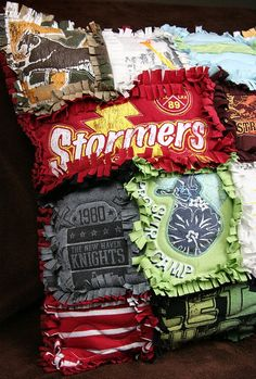 T-shirt Rag Quilt Pillow – going to make these out of my boys' fave shirts that no longer fit!