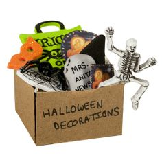 Box of Halloween Decorations. Put this in the attic of your dollhouse!