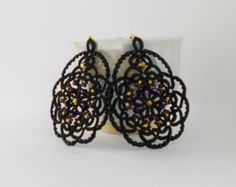 Victorian Tatted Black Lace Earrings with от TattingLaceJewellery