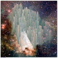 """Via Hubble: The cosmic """"ice sculptures"""" of the Carina Nebula. Scientists are still trying to explain the beautiful spires.A nebula from Latin: """"cloud""""is an interstellar cloud of dust, hydrogen, helium and other ionized gases. Originally, nebula was a name for any diffuse astronomical object, including galaxies beyond the Milky Way."""