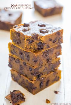 Soft Pumpkin Chocolate Chip Bars - Super soft and are like biting into a piece…