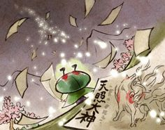 """Issun from Okami for the Wii  """"Issun the Wandering Artist presents his interpretation of the great god Amaterasu!"""" I love this game."""