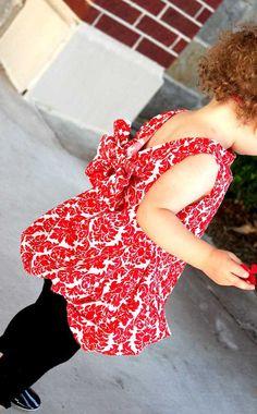 Red Christmas Toddler DressHolidaysDamask Tunic w/ by Lilypotamus,