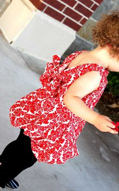 Red Damask Bubble Tunic Dress w/ Attached Bow in by Lilypotamus, $29.99