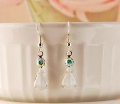 Milky white vintage glass bead earrings, dangle earrings, 1920's style earrings…