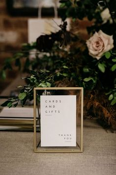 Modern wedding reception decor with modern wedding sign for cards and gifts hochzeit THE BRACEY WEDDING - Sparklers & Confetti Modern Wedding Reception, Gift Table Wedding, Wedding Signage, Wedding Reception Decorations, Wedding Centerpieces, Diy Wedding, Wedding Day, Decor Wedding, Wedding Favors