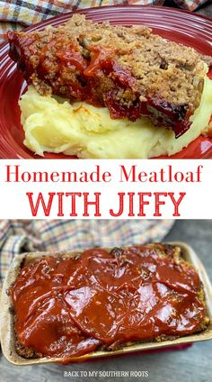 Homemade meatloaf is a moist recipe with tons of flavor, and a special ingredient--Jiffy cornbread. If you're tired of dry and tasteless meatloaf, y'all will want to try this recipe. Best Beef Recipes, Beef Recipes For Dinner, Amish Recipes, Hamburger Recipes, Meatloaf Recipes, Ground Beef Recipes, Meat Recipes, Recipies, Cooking Recipes