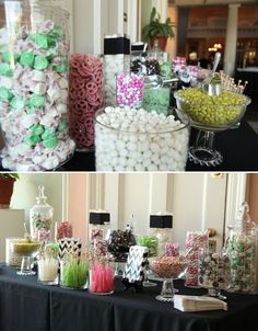 This highlights how going lots of colours can be a bit distracting-doesn't look as pulled together. Pink, Green, Black and White color themed candy bar