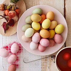 Use these all-natural dye recipes made from household ingredients to create Easter eggs in beautifully subdued shades: http://www.bhg.com/holidays/easter/eggs/natural-easter-egg-dyes/?socsrc=bhgpin041614allnaturaleastereggdyerecipes