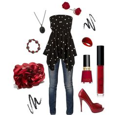 Black & White Tube Top With Pop of Ruby Red