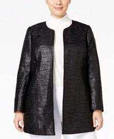 c2b5d6ccef7 Kasper Plus Size Jacquard Open-Front Jacket Ali