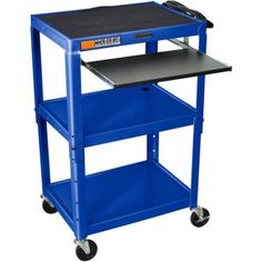 Luxor Steel Adjustable Height A/V Cart with Pullout Keyboard Tray, Blue