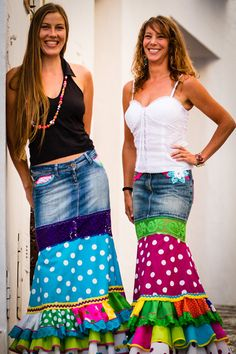 Spanish Full Length Long Flamenco Skirt Urban by MadeinFrigiliana, Supernatural Sty Quirky Fashion, Colorful Fashion, Daily Fashion, Redo Clothes, Flamenco Skirt, Refashion, Dress Patterns, Girl Outfits, Trending Outfits