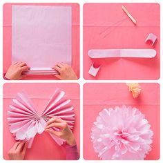 Cómo hacer Pompones de Papel para Decoración de Fiestas - Pintando una mamá | Pintando una mamá                                                                                                                                                                                 Más
