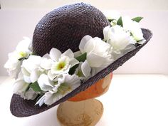 Vtg Straw Wide Brim Hat with White Daffodils by Atlas Dark Navy Blue Millinery #Atlas #WideBrim