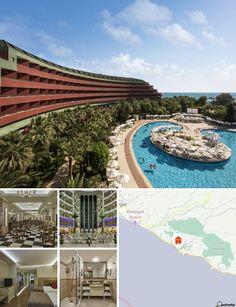 L'hôtel de luxe donne directement sur sa propre plage de galets. Le complexe d'environ 50000 mètres carrés se trouve à environ 30 km de Side et d'Alanya. Une navette vous y emmènera gratuitement. Des taxis et des mini-bus se trouvent devant l'hôtel. L'aéroport d'Antalya est à environ 90 minutes de trajet.