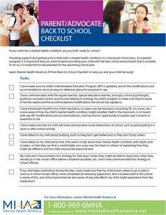 "As a parent advocate have you checked of the items on our ""Back to School"" list? Providing support and guidance for a child with a mental health condition is a critical part of recovery throughout the year. Download the list here: http://www.mentalhealthamerica.net/back-to-school-checklist"