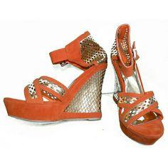 Liliana Orange and Gold Wedges- size 10 Liliana Orange and Gold Wedges- size 10 Liliana Shoes Wedges