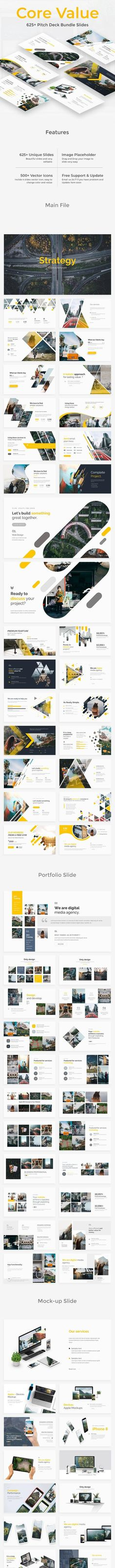 Buy Core Value Pitch Deck Bundle 3 in 1 Powerpoint Template by ZinStudio on GraphicRiver. About Template unique multipurpose slides Very easy modify widescreen Using free fonts (please r. Business Presentation, Presentation Design, Presentation Templates, Creative Powerpoint Templates, Core Values, Keynote Template, Pitch, Flyer Design