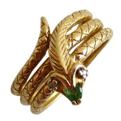 1stdibs - Diamond Emerald Gold Snake Ring explore items from 1,700  global dealers at 1stdibs.com