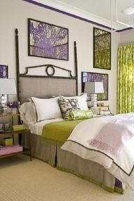 purple, green and gray bedroom