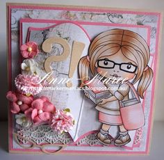 From our Design Team! Card by Anne-Maree Campbell featuring Club La-La Land Crafts May 2016 exclusive Marci with Books, Reading Marci stamp set and these Dies - Glasses, Open Book, Question/Exclamation, Book Brackets :-) Club La-La Land Crafts subscription details are here - http://lalalandcrafts.com/Club_La-La_Land_Crafts.html  Coloring details and more Design Team inspiration here -  http://lalalandcrafts.blogspot.ie/2016/06/club-la-la-land-crafts-may-2015-club.html